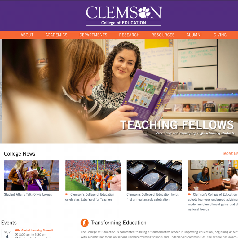 Website Design and Development Example for Clemson University College of Education